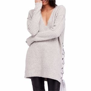 Free People Heart It Laces Sweater S Gray